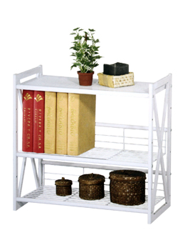 3 Tier White Wire Shelving Unit with various decor