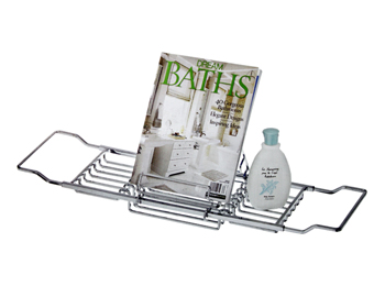 bathtub tray with book holder