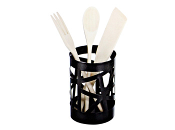 black kitchen utensil holder