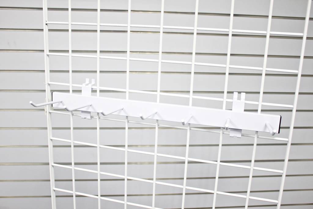 white tie rack for wire grid panel