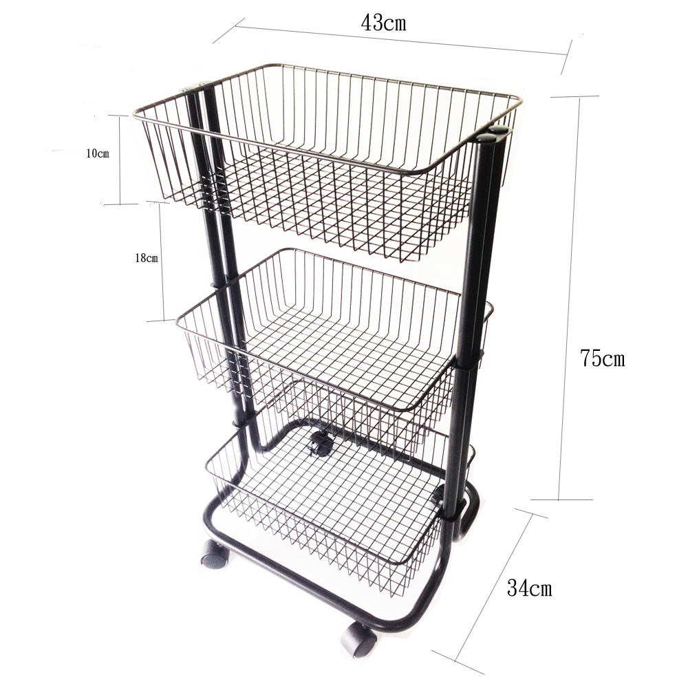 3 Tier Metal Rolling Storage Cart Size