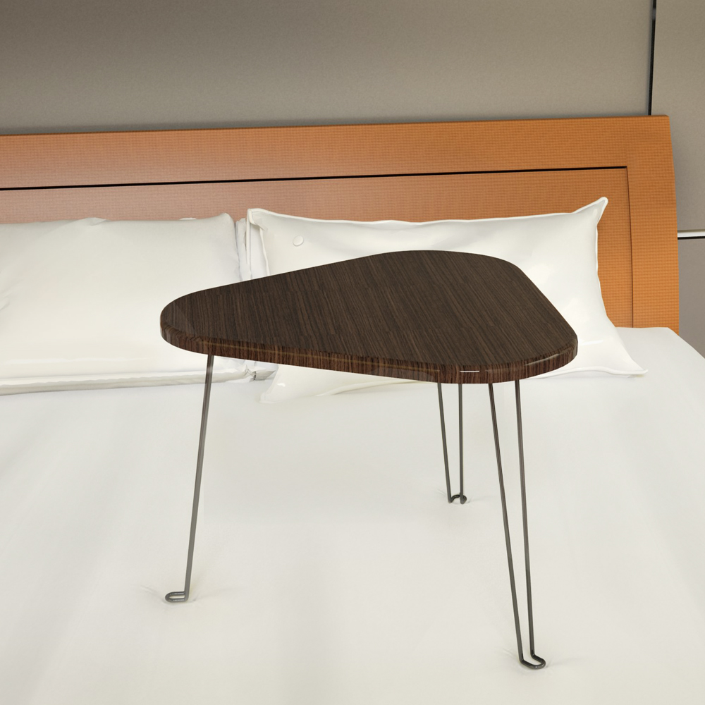 Triangle Wood Portable Laptop Table on the bed