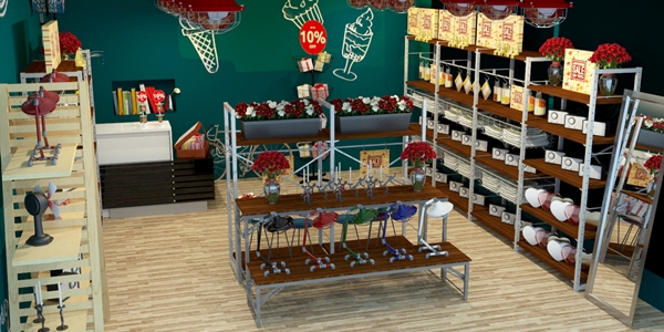 3D-Table and Shelves in retailer store