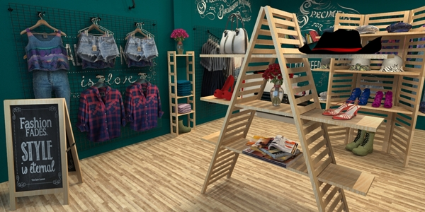 3D wooden display racks in retail shop