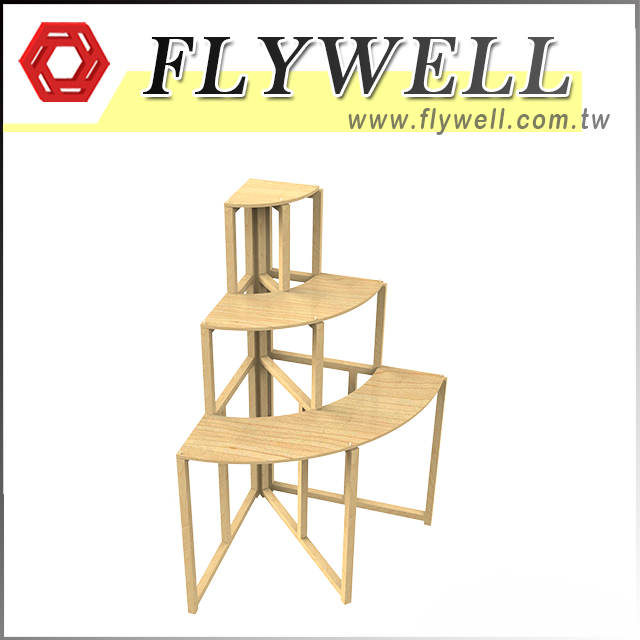 3 Tier Wood Corner Retail Display Shelf