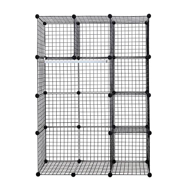 Black 12-Cube Metal Grid Wire Storage