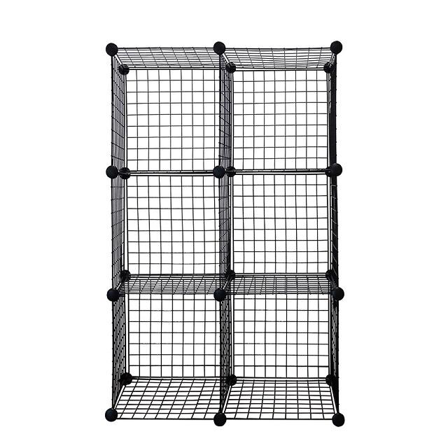 Black 6-Cube Metal Grid Wire Storage