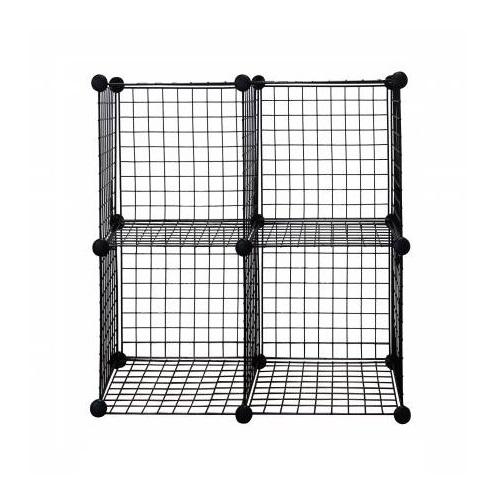 Black 4-Cube Metal Grid Wire Storage