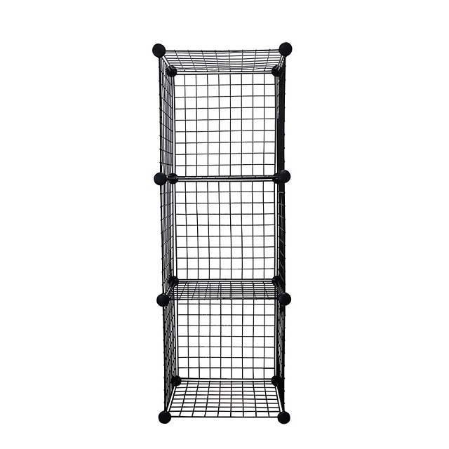 Black 3-Cube Metal Grid Wire Storage