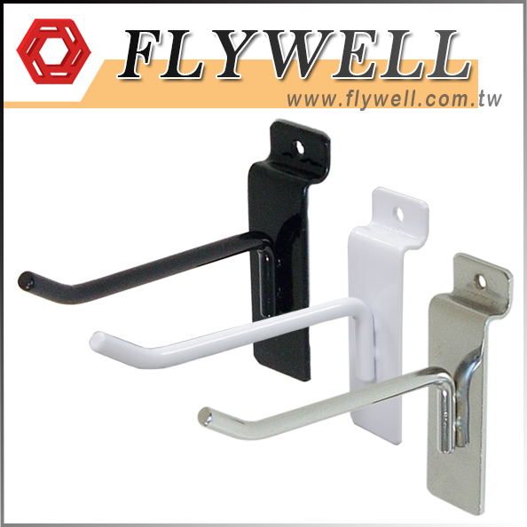 three Slatwall Panel Peg Hook in black, white, chrome