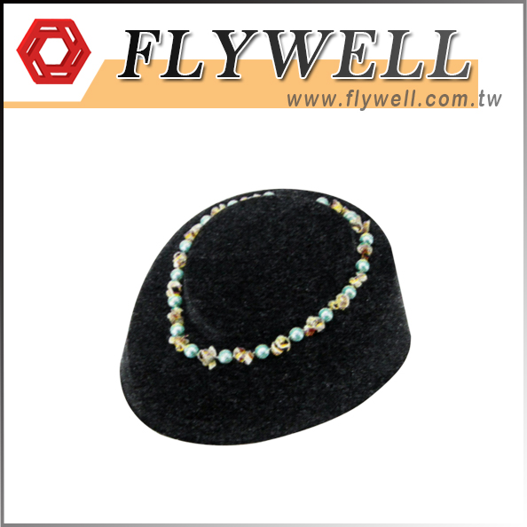 Black Flocked Necklace Display Stand
