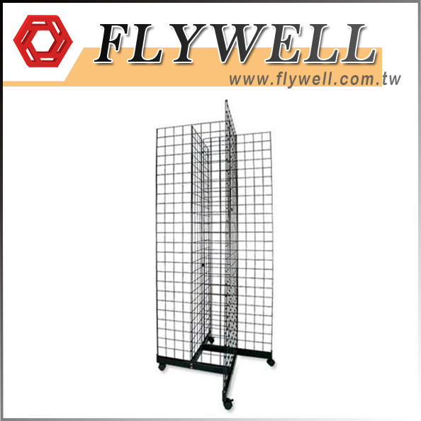 black 4-Way Gridwall Tower Display