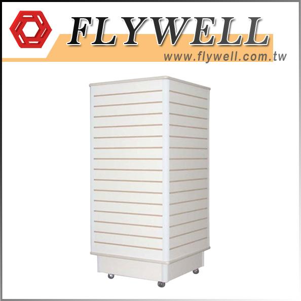4-Way Cube White Slatwall Tower