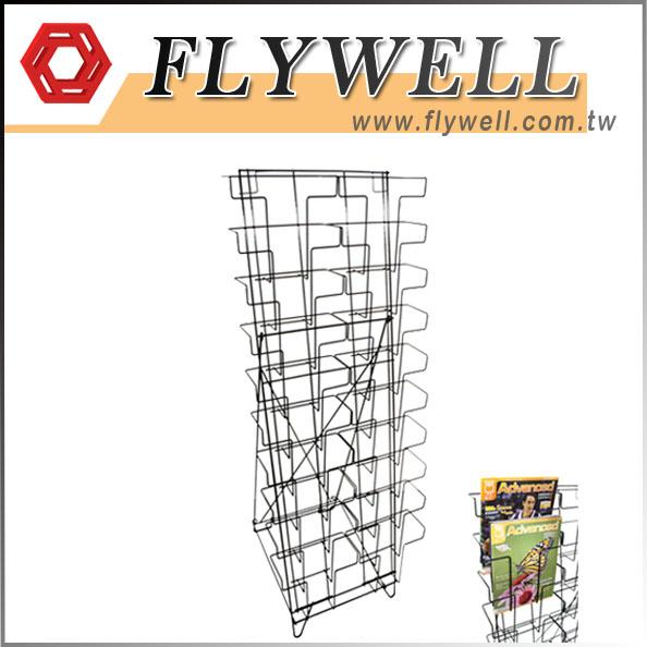 10 Tier Wire Floor Literature Stand with magazine demostration