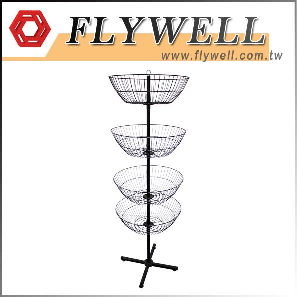 4-Basket Dump Bin Spinner Floor Display in Black