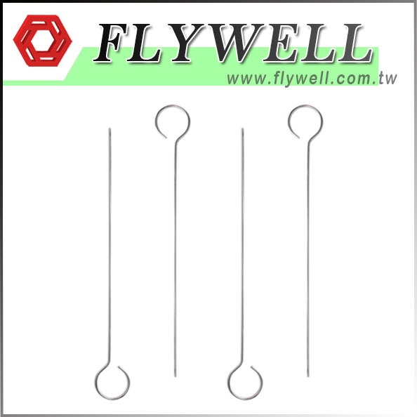 12-Inch BBQ Metal Kabob Skewers with green flywell logo & website