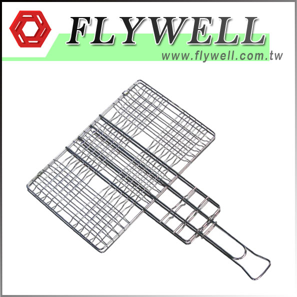 Wire Hamburger Grill Basket With Extendable Handle