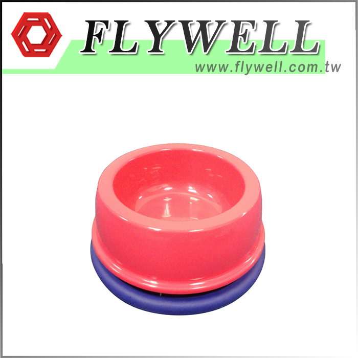 Pink pet bowl with Flywell Logo