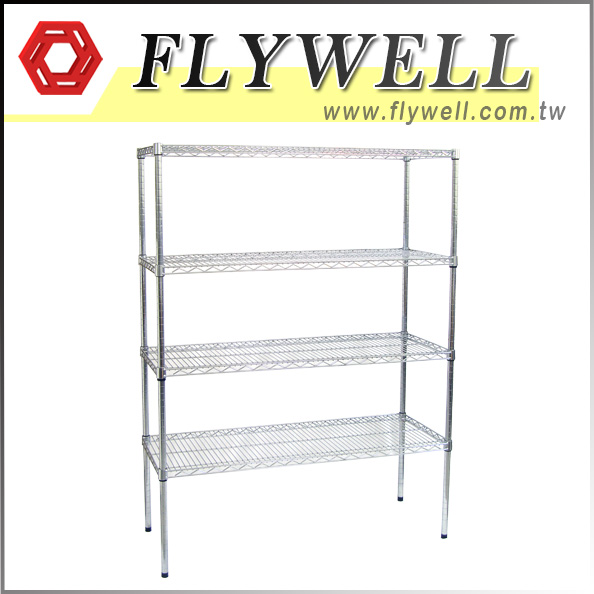 4 Tier Chrome Wire Mesh Shelving Unit