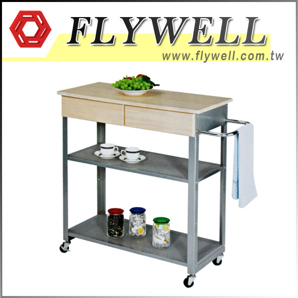 3 Tier Rolling Kitchen Trolley Cart