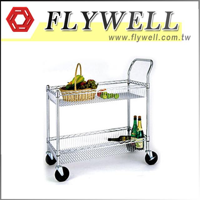 2 Tier Mesh Wire Rolling Kitchen Cart
