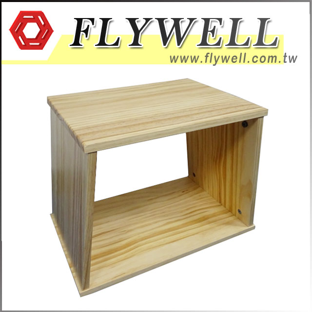 Stackable Wooden Shoe Storage Stool with Flywell Logo