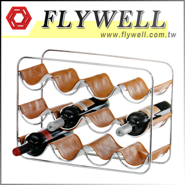 3 Tier Wine Bottle Storage Organizer with leather