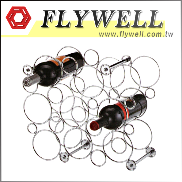 9 Bottle Wire Circular Wine Rack with 2 Bottles of wines