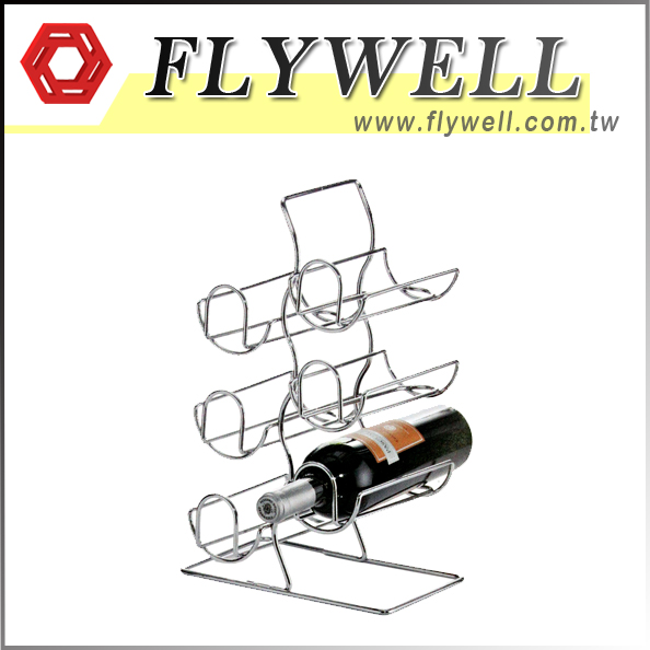 6 Bottle Free Standing Wire Wine Holder with wine bottles