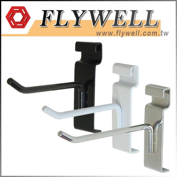 black, white, chrome peg hooks for gridwall