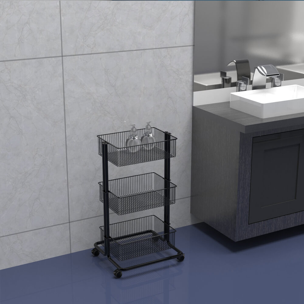3 Tier Metal Rolling Storage Cart in bathroom