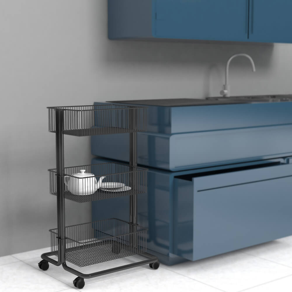 3 Tier Metal Rolling Storage Cart in kitchen